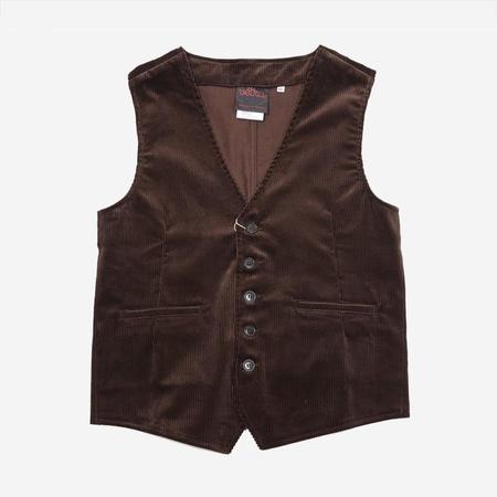 Vetra Medium Wale Corduroy Vest Waistcoat - Brown
