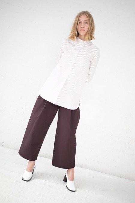 Studio Nicholson Mandarin Collar Stripe Cotton Shirt