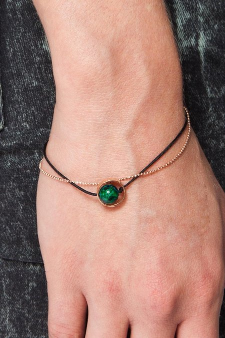 Moutsatsos Cycle Du Soleil Bracelet With Green Earth - Pink Gold
