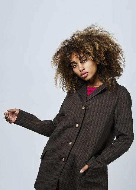 Echappees Belles Elise Striped Blazer - Brown/Stripes
