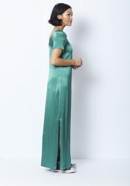 Staud Halliwell Satin Dress - Kelly Green