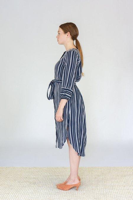 Trovata The Mira Faux Wrap Dress - Navy Stripe