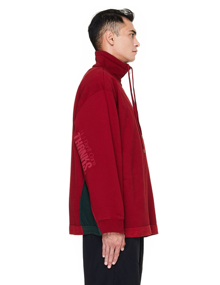 Vetements Stand-up Collar cotton Mix Sweatshirt - Red
