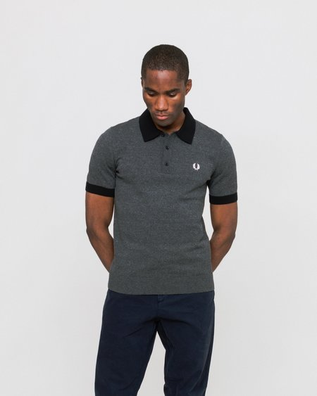 Fred Perry Contrast Trim Knitted Shirt - Black Torzal