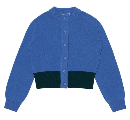 ROCKET X LUNCH Hem Color Block Knit Cardigan - Light Blue