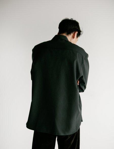 Auralee Wool Kid-Mohair Gabardine Shirt - Dark Olive