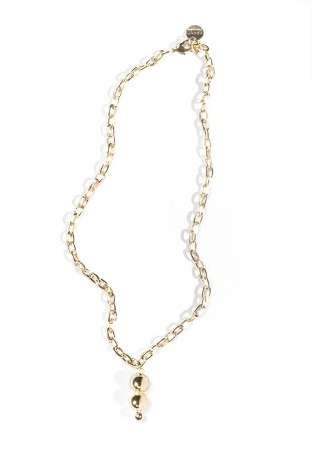Young Frankk Double Orb Chain Necklace - Gold