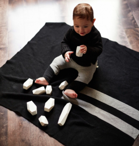 Kids Bacabuche  Stripe Blanket - Black/Grey