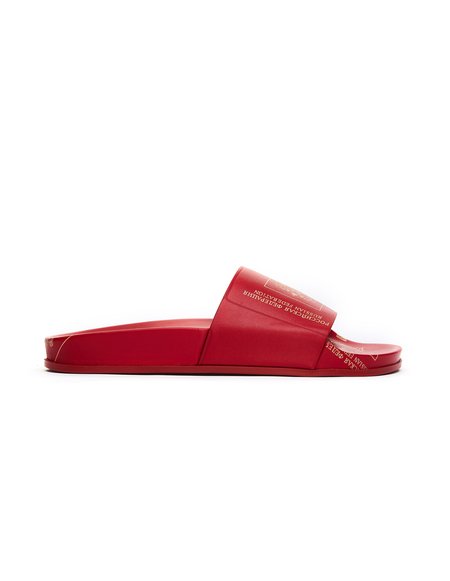 Vetements Russian Passport Leather Slides - Red