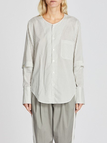 Bassike Stripe Open Yoke V-Neck Shirt - Natural/Black