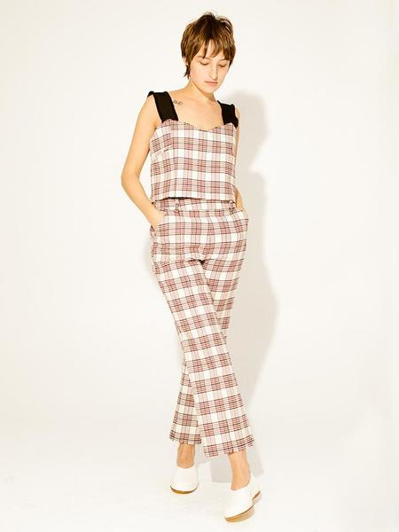 Suzanne Rae Loose Bustier Top - White/Red Plaid