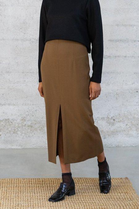 Waltz High-Waisted Long Wool Viscose Twill Skirt - Bronze