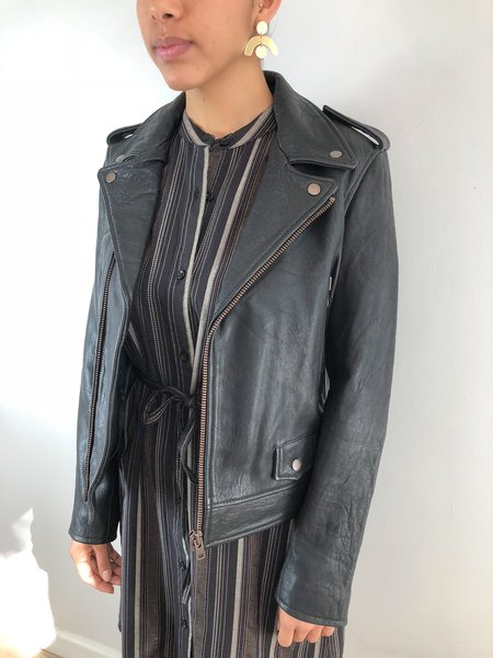Just Female Leather Moto Jacket - Black
