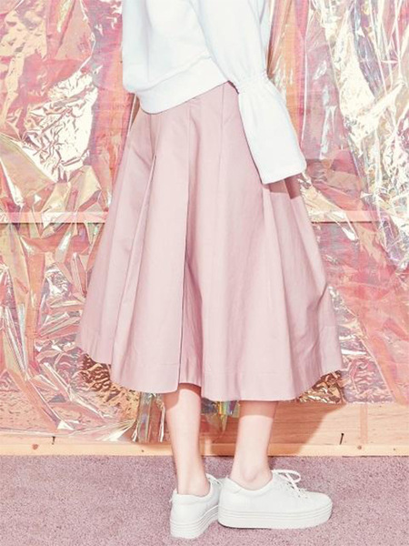 Blank Maxi Flared Skirt - Pink