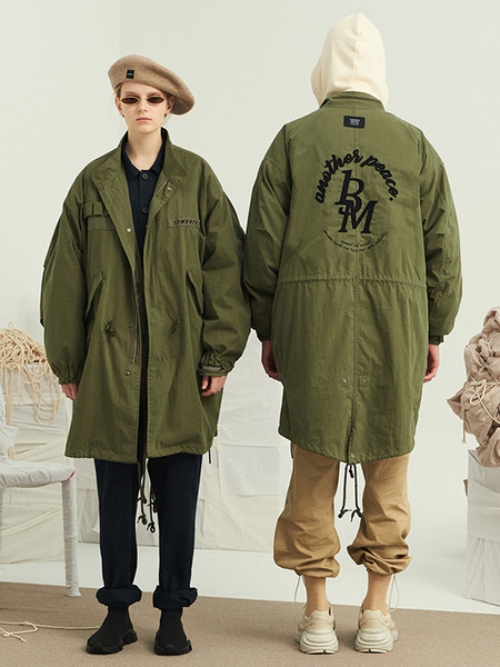 Unisex 13MONTH Embroidery Long Field Jacket - Khaki