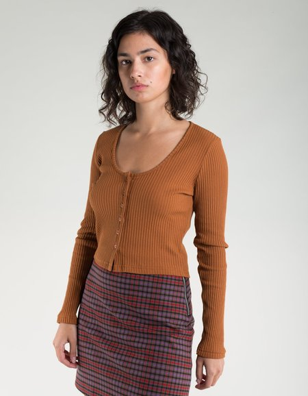 Side Party Miu Buttoned Deep Neck Ribbed Top -  Camel