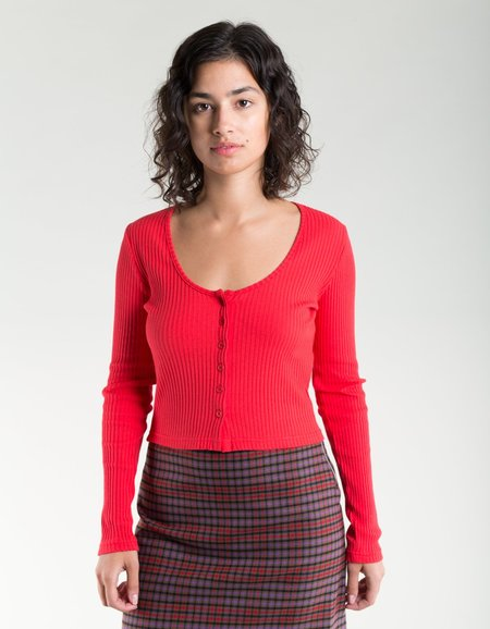 Side Party Miu Buttoned Deep Neck Ribbed Top - Red