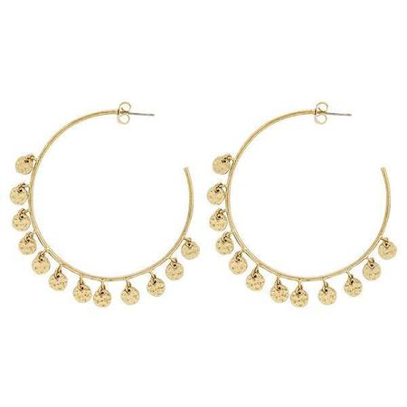 Luv AJ Hammered Disc Hoops -  Gold