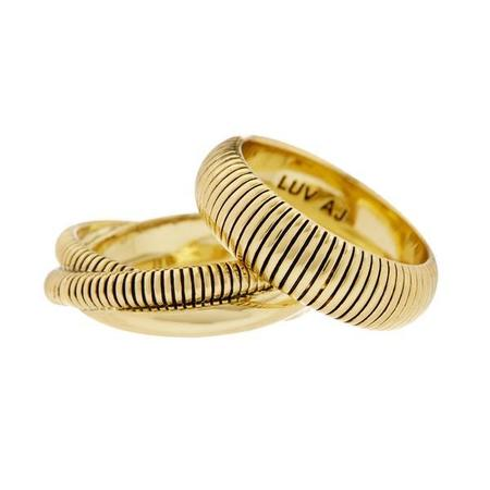 Luv AJ Snake Chain Cigar Rings - Gold