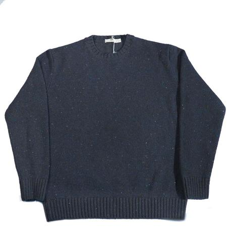 Inis Meáin Donegal C/N Plated Knit Sweater - Blue