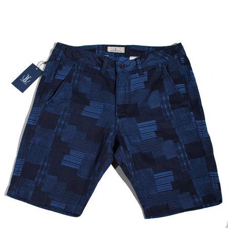 Japan Blue Knee Shorts - Indigo Patchwork