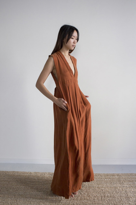 Hannayujin Nari Cupro Empire Dress - Terra Cotta