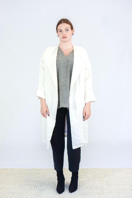 Black Crane Cotton Wool Poncho - Sage