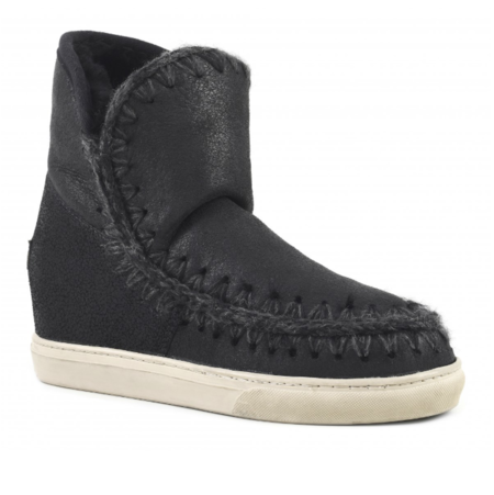 Mou Inner Wedge Sneaker - Cracked Black