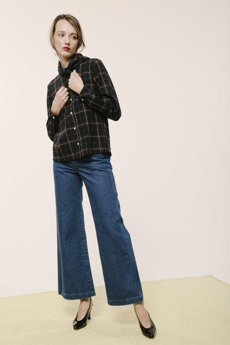 Carleen Bandana Neck Shirt - Black Flannel