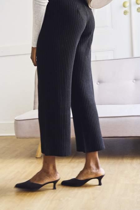 Daisy Wide Leg Knit Trousers - Black