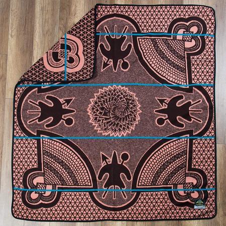 Aranda Textile Mills Salmon Kharetsa Spiral Aloe Basotho Heritage Blanket