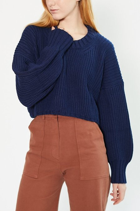 First Rite Crop Crew Sweater - Navy