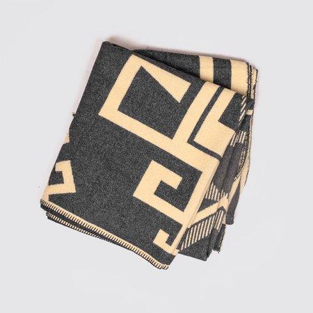 BasShu Wool Blanket - Blue Jacquard