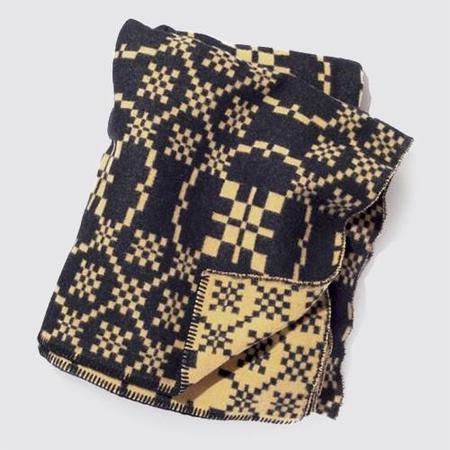 BasShu Wool Blanket - Navy Jacquard
