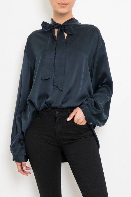 Giada Forte Silk Shirt With Ribbon - Notte