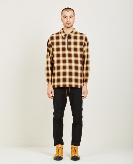 Candor PLAID ZIP PULLOVER SHIRT - BROWN