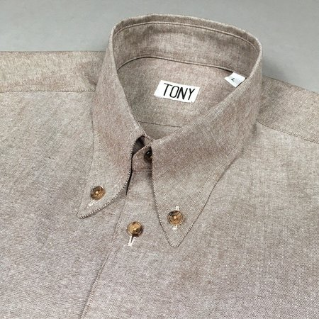 Tony Shirtmakers Spear Point Buttoned Down - Brown Chambray