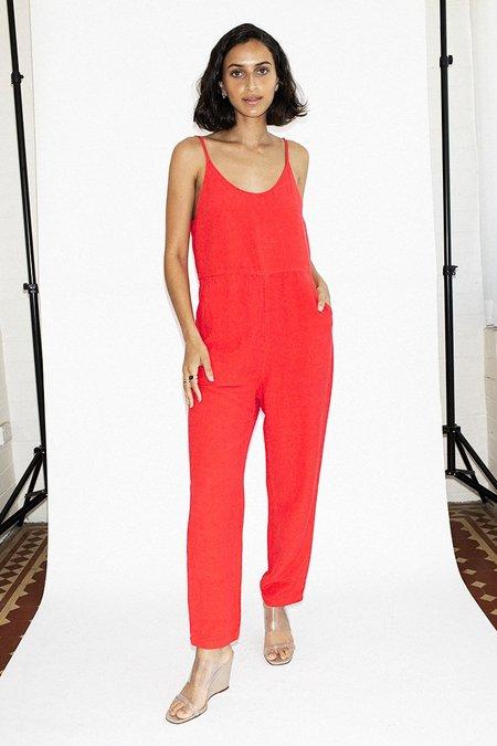 NEUW Jackson Linen Jumpsuit – Riot Red