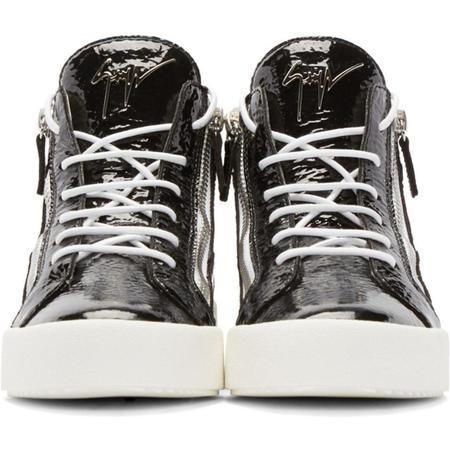 Giuseppe Zanotti Black Patent London Mid-Top Sneakers