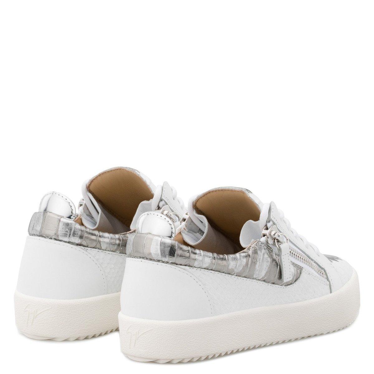 6141b9bc56a7c Giuseppe Zanotti Gail Metallic Low Top Sneaker - White/Silver ...