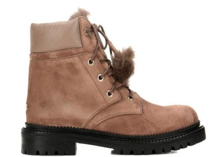 Jimmy Choo Elba Suede and Rabbit-Fur Ankle Boots - Light Mocha