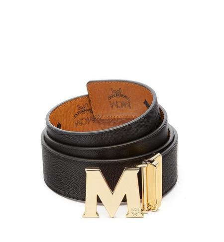 MCM Reversible Belt With 24K Gold Belt Buckle - Cognac