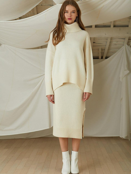 LOOKAST Cahsmere Wool Knit Turtleneck Skirt Two Piece - Ivory