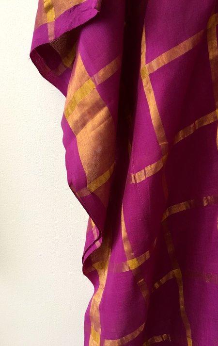 Two Sari Caftan - Fuschia/Gold