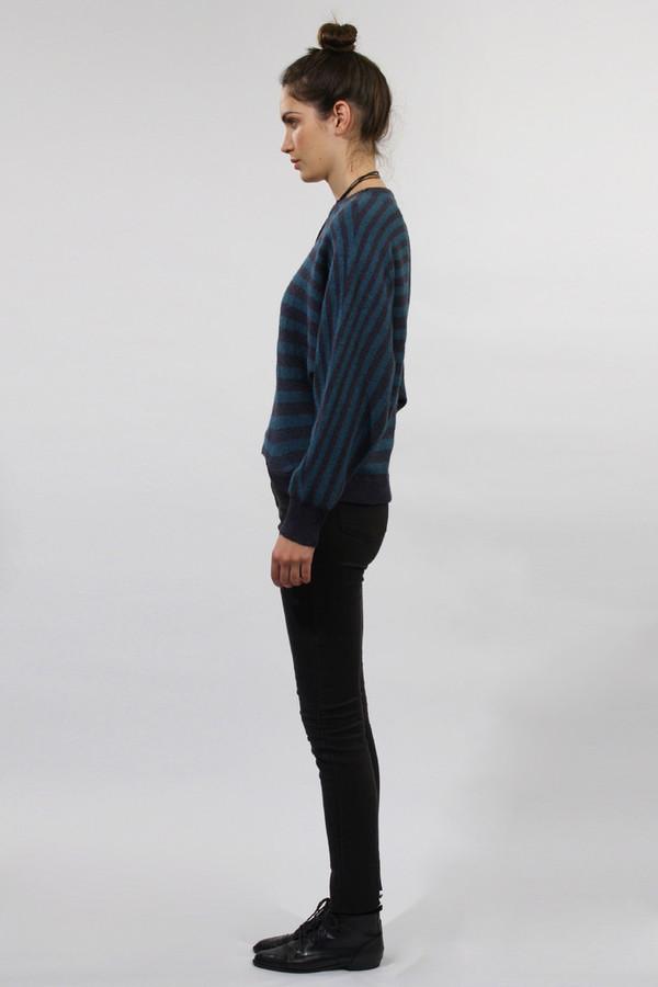 Micaela Greg Navy Striped Pointelle Sweater