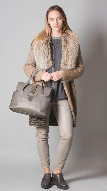 Fabiana Filippi  Cashmere Cardigan with Removable Genuine Fox Fur Collar - Tricolor