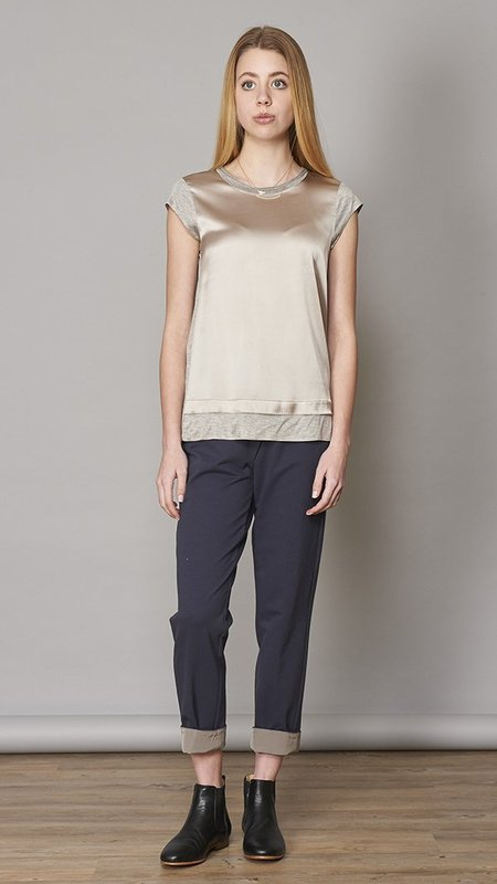 Peserico Charmeuse Front Silk Blend Top - Grey/Taupe