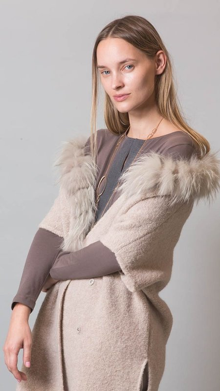 Fabiana Filippi  Hooded Fox Fur Trim Cape - Taupe