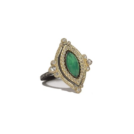 Armenta Midnight Silver 18k Yellow Gold Green Onyx Marquise Ring On Diamond Eternity Band