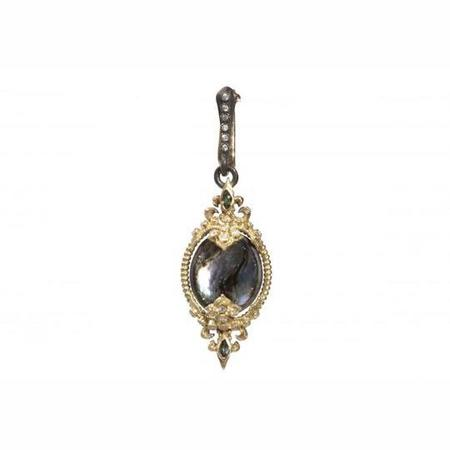 Armenta Midnight Silver Fleur De Lis Oval Drop Enhancer Diamonds Blue Sapphires